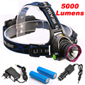 5000 Lumens CREE XM-L T6 LED Headlamp Headlight Flashlight Head Lamp Light + 2*18650 battery + charger + Car Charger