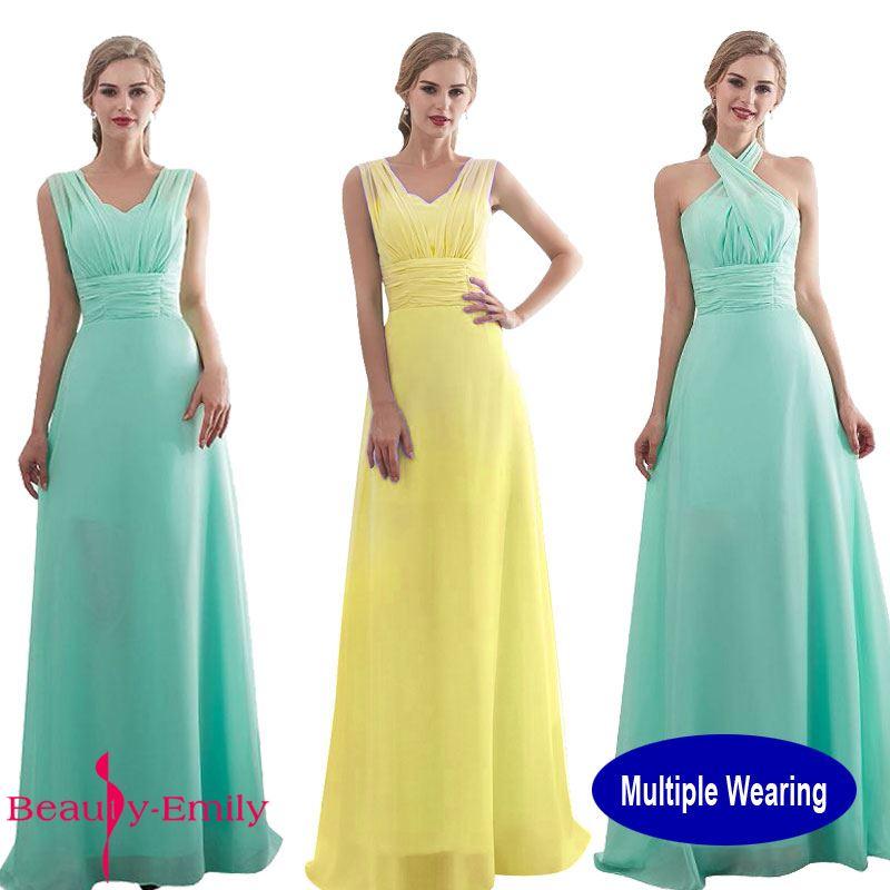 Hot Sale Beauty Emily Multi New Chiffon Long Bridesmaid Dresses 2018 ...