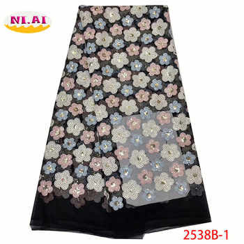 Latest African Tulle Lace Fabric High Quality, Black Wedding Dress, African Lace Fabric Sequin For Wedding MR2538B - DISCOUNT ITEM  0% OFF All Category