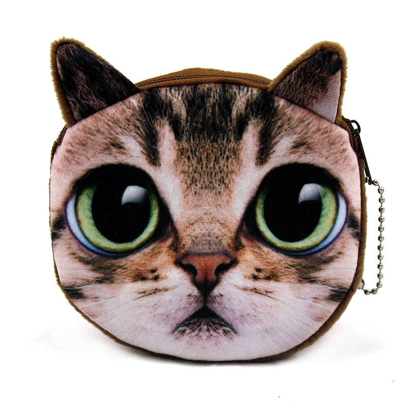 Brand New Women Small Wallet 2017 Dollar Price Cute Cat Face Zipper Coin Purse For Coins Hot Sale Girls Children Wallet Bag