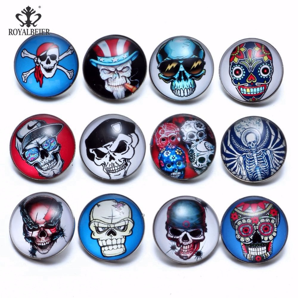 12pcs/lot Multi Styles Sugar Skull Theme Glass Charms 18mm Snap Button Jewelry For 20mm Snaps Bracelet Snap Jewelry Kz0787 Strong Packing