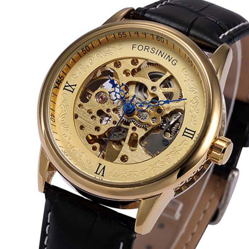 FORSINING Luxury Gold Dial Mechanical Wristwatch Roman Numbers Black Geniune Leather Band Strap Men Watch For Gift FORSINING forsining automatic men s watch luxury brand militry wristwatch mechanical watch arabic numerals dial gold cuff chain band clock