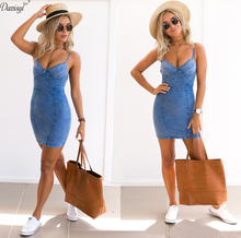 Сексуальная спинки 2017 платье из джинсовой ткани Для женщин винтажные облегающее летнее платье для пляжной вечеринки Короткие Платья повседневные синие Vestidos