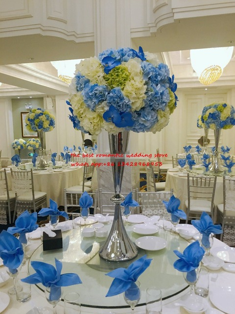 silver wedding table centerpiece candle holder tall flower pillar ...