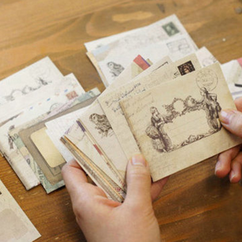 60pcs/set Vintage Small Kraft Paper Window Envelopes Gift Envelope Wedding Invitation Envelope Ancien 73*95mm