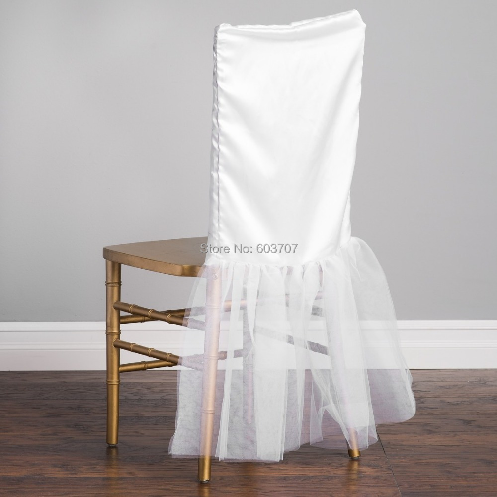 chair covers and linens white wooden hire free shipping 50 pcs new design tulle tutu/organza & satin chiavari cover cap for ...