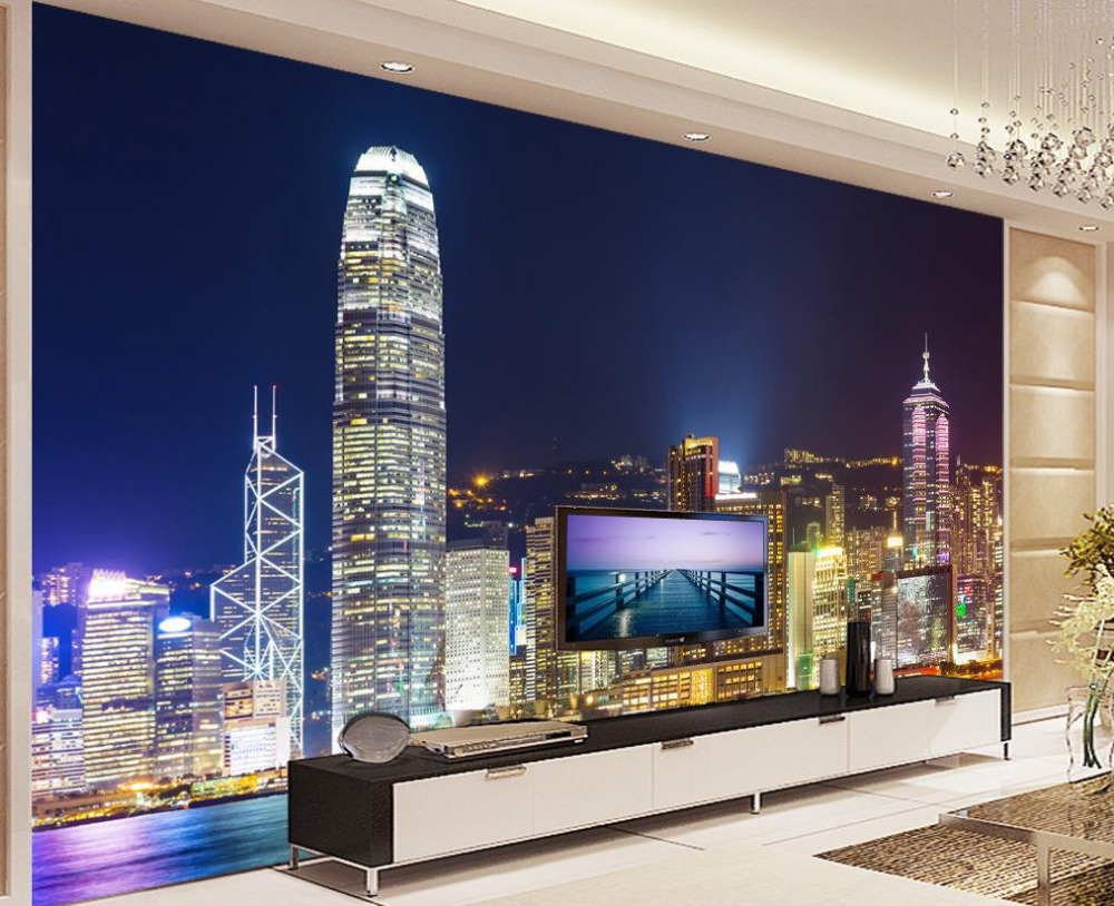 3d Wallpaper Bright Lights Hong Kong Night View Living Room Background Wall Photo Customized