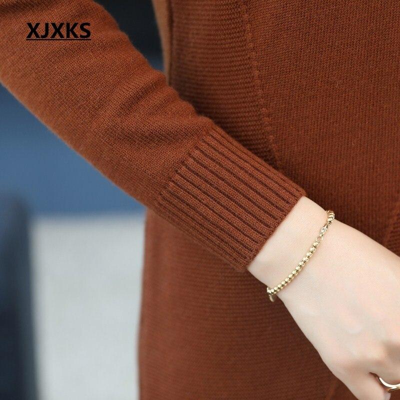 Confortable marron blanc Automne Femme Robe Femmes bourgogne Col En Xjxks Mujer Outwear Pull À bleu Jumper Roulé Long Et Beige Suéter Tricot noir Hiver AB1Bndqxw