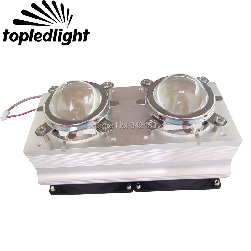 Custom Dual 45MM Led Lens Kit With Dual DC12V Led Heatink Cooling Fan For TWO 20-60W High Power Led Emitter Lamp Lighting Light