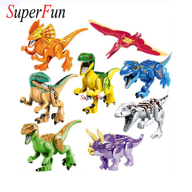 Mini Jurassic Dinosaur figure Aninal World Park Building Block Pterosauria Triceratop Indomirus T-Rex Toy Compatible with Legold jurassic world park tyrannosaurus rex styracosaurus plesiosaur brachiosaurus dinosaur plastic toy model children s gift