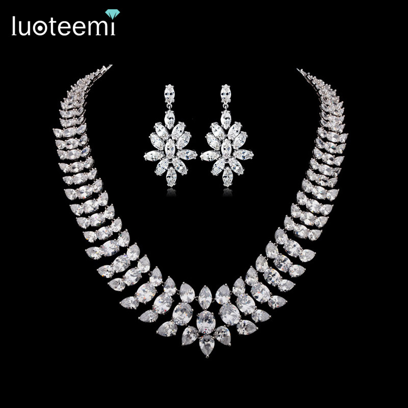 LUOTEEMI Brand Charm Elegant Women AAACZ Big Waterdrop Necklace Bridal Wedding Jewelry White Gold Color Party