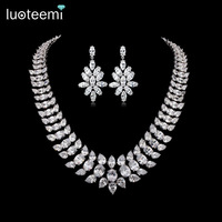 LUOTEEMI Brand Charm Elegant Women AAACZ Big Waterdrop Necklace Bridal Wedding Jewelry White Gold Color Party Gift Accessories