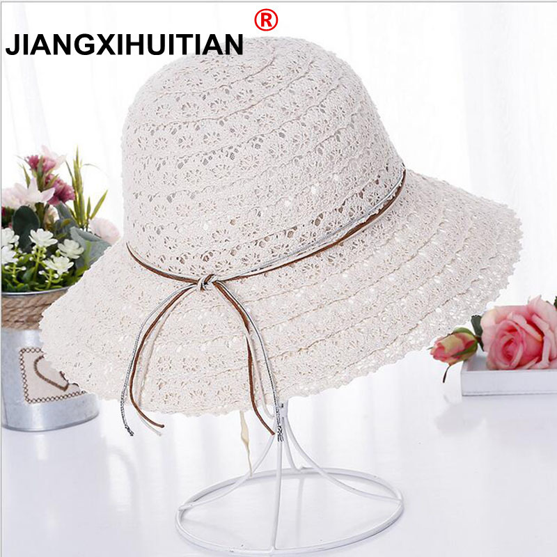 2018 New Bowknot Summer Women's Foldable Wide Large Brim Elegant Sun Hat Ladies Lace Hollow Straw Beach Caps