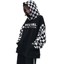 Мода 2017 г. Демисезонный черный, белый цвет palid пальто Для женщин Повседневное Топы корректирующие с длинными рукавами Harajuku Толстовки пуловер с принтом верхняя одежда
