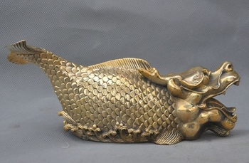 "8"" China fengshui copper brass wealth Dragon Fish Scleropages beast lucky statue"