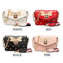 Fashion Women Messenger Bag New Brand Leather Female Shoulder Bag Luxury Diamond Little Bee Woman Handbags Strap Bags Pink Red