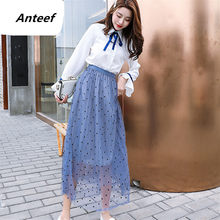 2019 plus size high waist vintage dot pleated summer korean saias casual long tulle skirt women skirts female clothes streetwear(China)
