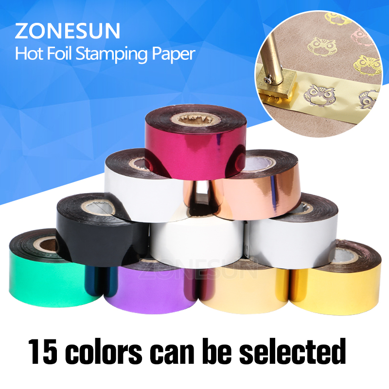 ZONESUN FREE SHIPPING Rolls(gold and slilver) Hot Foil Stamping Paper Heat Transfer Anodized Gilded Paper with Shipping Cost Fee