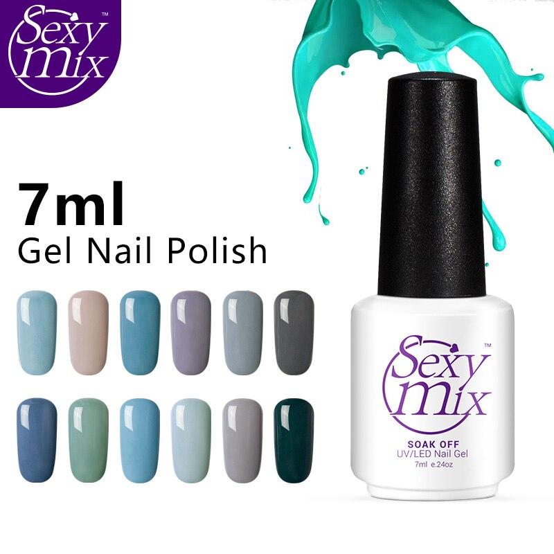 Sexy Mix 12pcs Gradual change grey color gel varnish 7ml nail polish sets long lasting uv led nail art painting gel lacquer kits