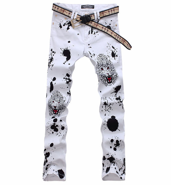 New Men Leopard printing White Jean Pants Colored Pattern Printed Straight Slim Cotton Long Jeans