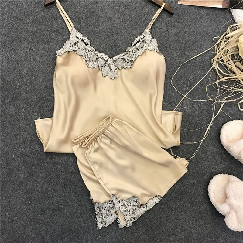 Summer Pajamas Sets Women Sexy Satin Lace Sleeveless Sleepwear Set Cute V-Neck Nightwear Lingerie Pajamas