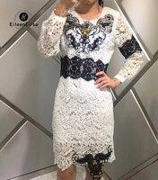 Белый Кружево платье элегантный 2018 Для женщин с длинным рукавом Вышивка Платья для женщин Бисер сексуальное платье Винтаж