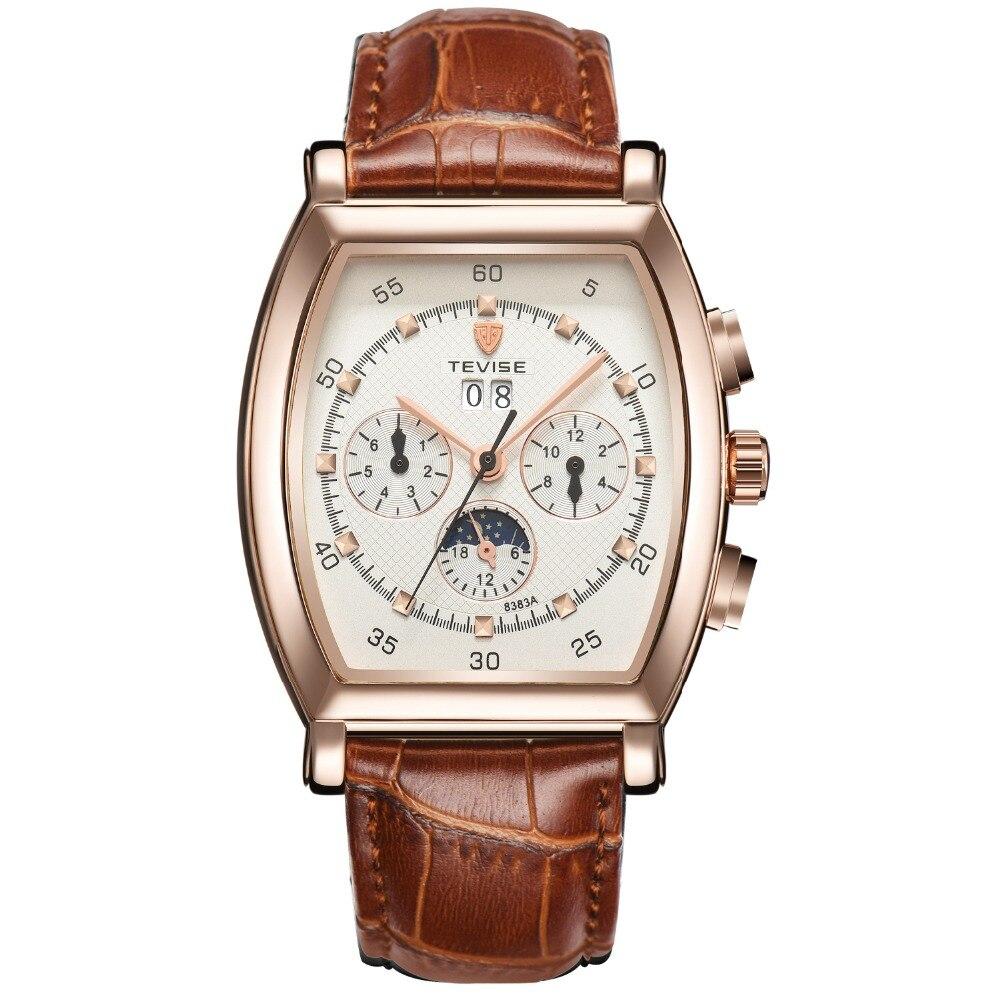 TEVISE мужская Часы Автоматические механические Натуральная Кожа Многофункциональный Бизнес-водонепроницаемый мужские часы календарь