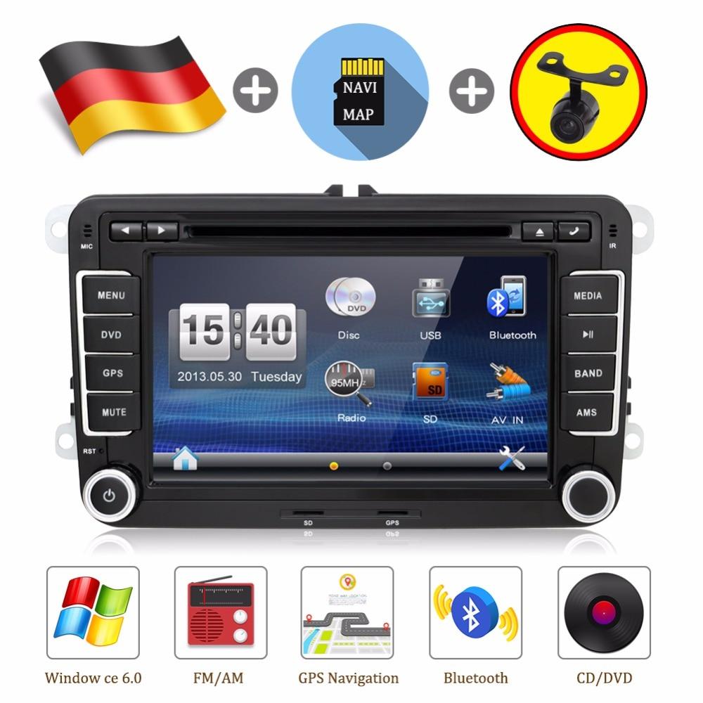 2 Din car dvd player Aux gps Stereo 7 inch USB FM RDS Maps For VW Skoda POLO GOLF 5 6 PASSAT CC JETTA TIGUAN TOURAN Fabia Caddy