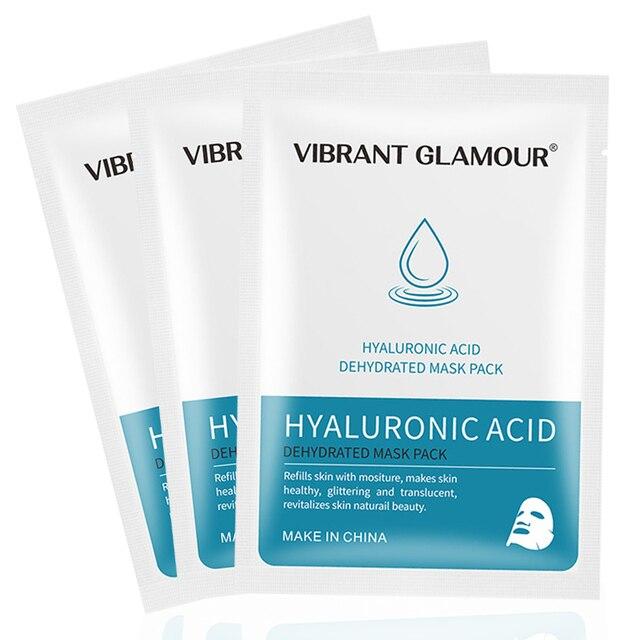 3 piezas de ácido hialurónico cara máscara hidratante nicotinamida reducir los poros de la piel máscaras HS11