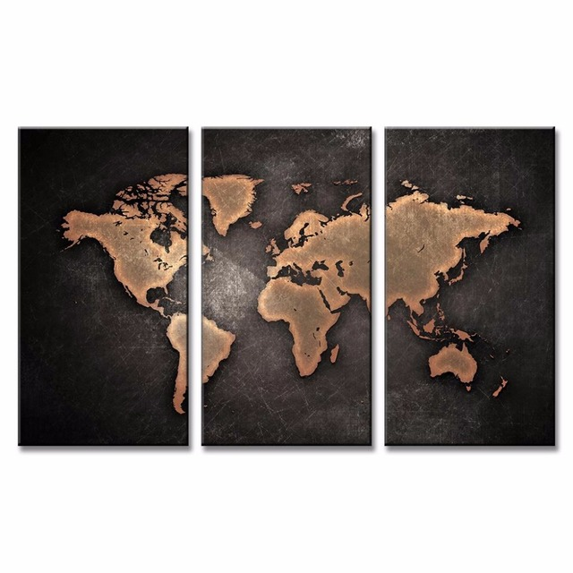 Abstract Black Gold World Map Canvas Wall Art Painting Framed 3