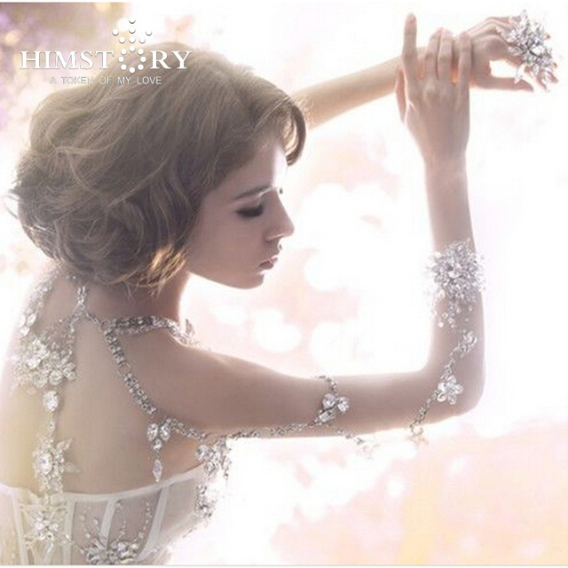 HIMSTPRY Sweet wedding vintage jewelry women long crystal necklace  jewelry accessories bridal shoulder strap