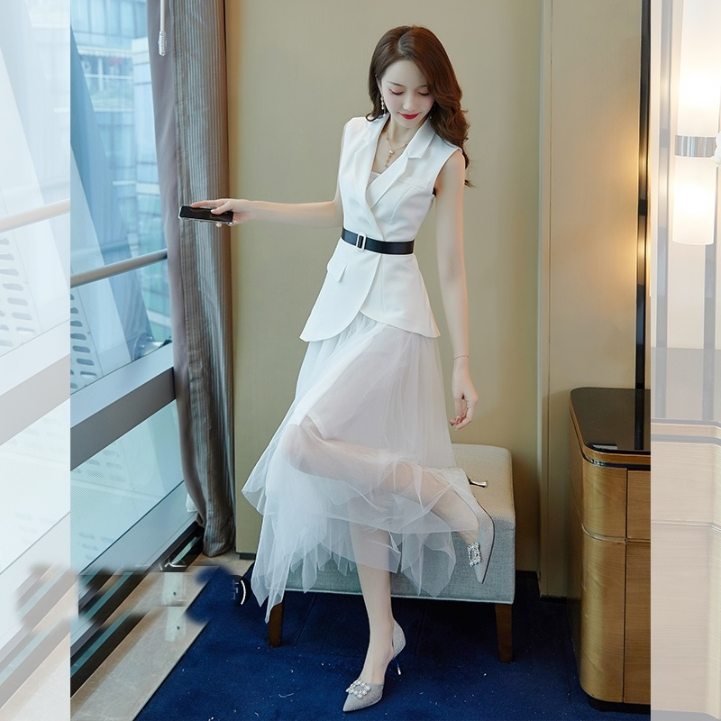 White New Chic Womens Sets Two Piece 2019 Summer Women Office Work Vest And Skirt Suits 2 Piece Sets Womens Outfits DD2170