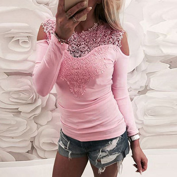 Sweet Lace T-Shirt Women Off The Shoulder Pink Slim Fit Tees Ladies 5