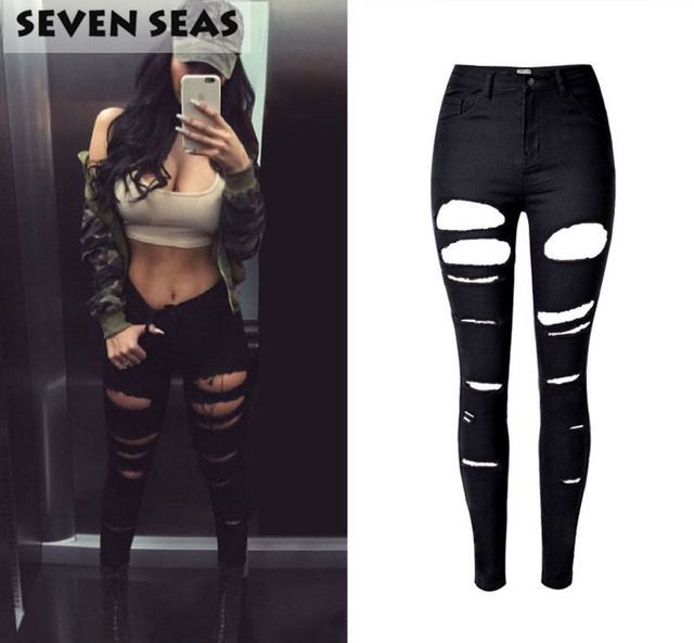 Aliexpress.com : Buy New Fashion Sexy Black Ripped Jeans Women ...