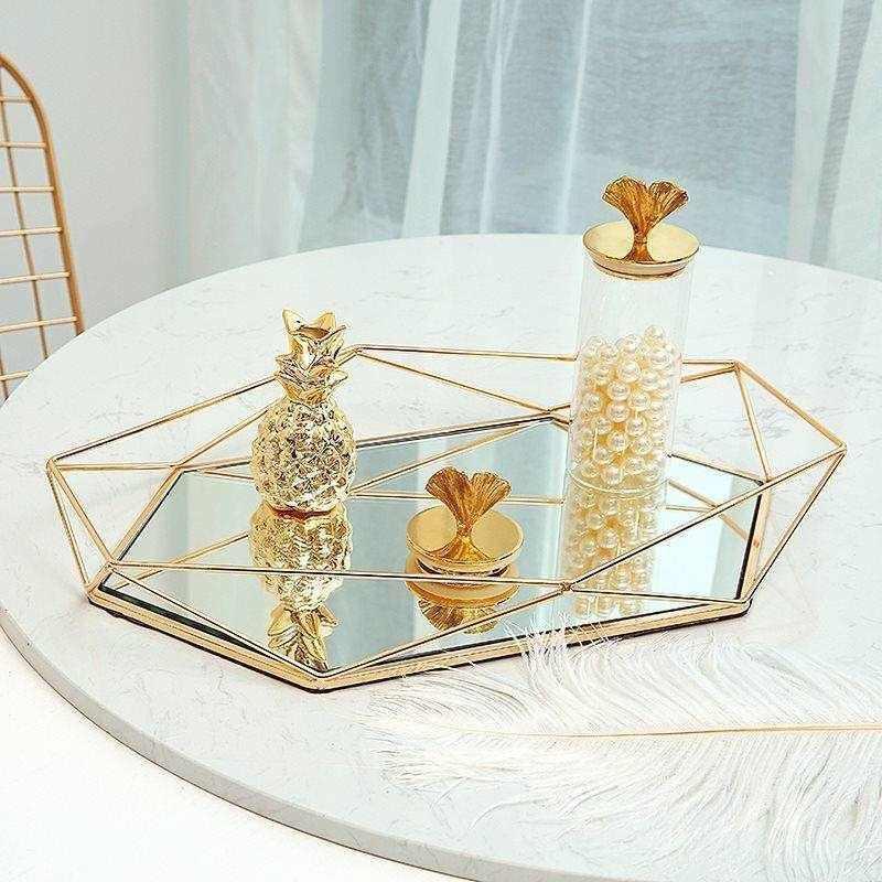 Placa de Exposição de Jóias de Vidro De Metal europeu Geométrica Espelho Rosa de Ouro Anel De Armazenamento De Jóias Bandeja Prato Decoração Prateleira
