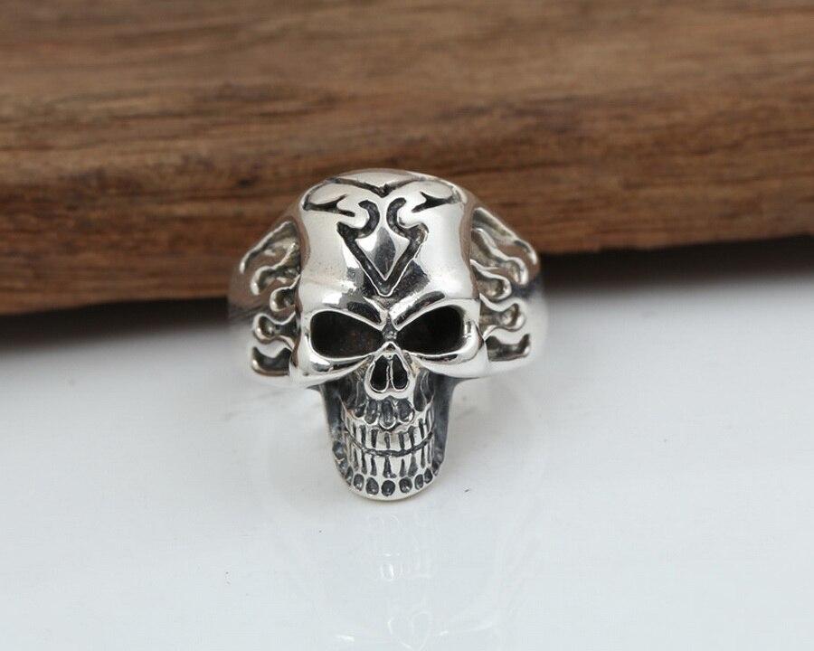 S925 argent sterling mode bijoux fins pour hommes femmes punk biker anneau de crâne cadeau de noël J103