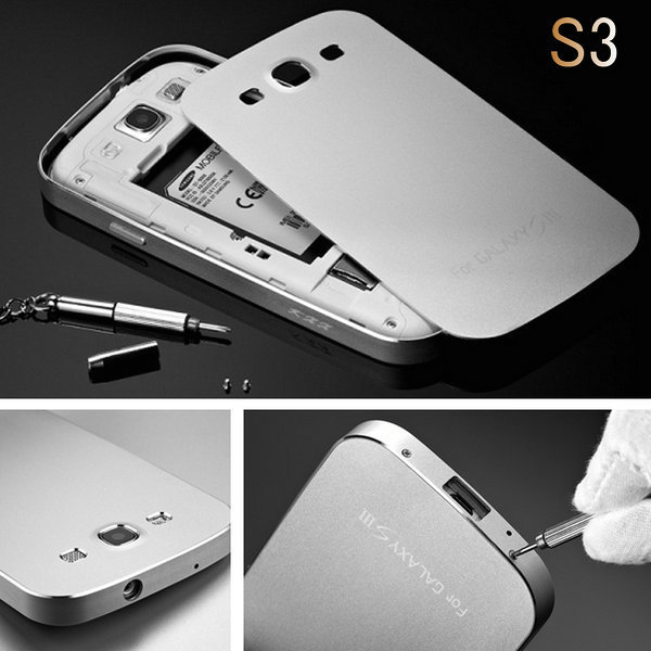sale retailer c8289 16943 US $16.78 |SIII Luxury Ultra Thin Aluminum Case for Samsung Galaxy S3 i9300  Metal Matte Phone Back Cover Protective Coque Fundas with Screw on ...
