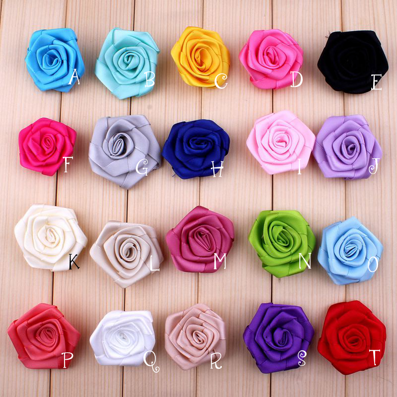 (30pcs/lot)1.6 20 Colors New Arrived Fabric Rosset Flowers For Children Accessory Artificial Colorful Satin Flower For Headband
