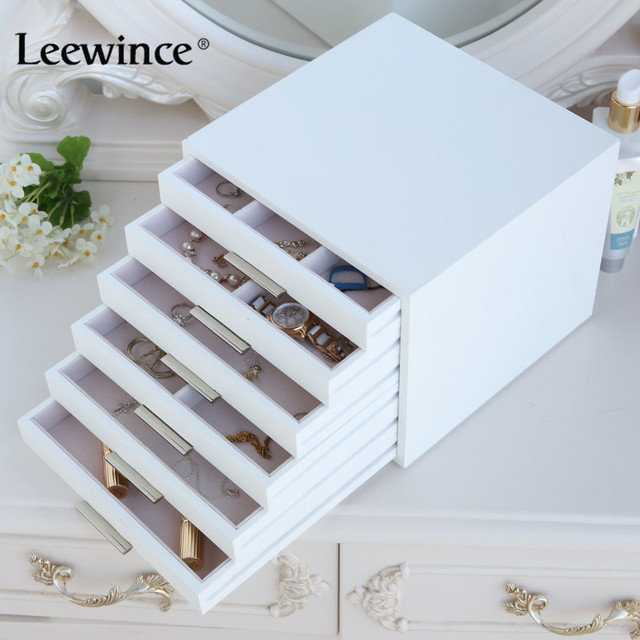 Leewince Custom Wooden Jewelry Makeup Organizer E0 E1 MDF Storage Box  Beautiful Design Box Jewelry For