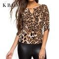 Blusa de Las Mujeres Tops Media Manga de la Camisa de Las Mujeres Más Tamaño Ropa de Mujer Sexy Lady Leopard Imprimir Blusas Blusas