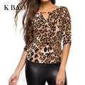 Mulheres Meia Manga Da Camisa blusa Mulheres Tops Plus Size Mulheres Roupa Sexy Lady Leopard Print Blusas Blusas