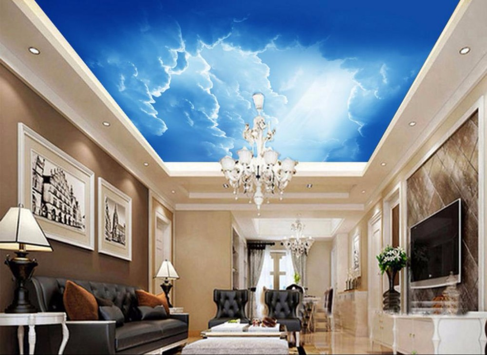 Modern simplicity sky Ceiling Wallpaper Sun white clouds Wall Murals 3d Ceiling Wallpaper Decorative Paintings custom ceiling wallpaper blue sky and white clouds murals for the living room apartment ceiling background wall vinyl wallpaper