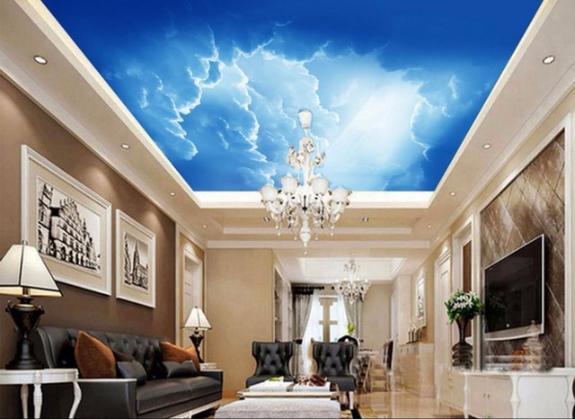 moderne einfachheit himmel tapete sonne wei e wolken wandmalereien 3d decke tapete dekorative. Black Bedroom Furniture Sets. Home Design Ideas