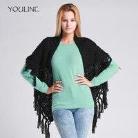 YOULINE Warm Knitting Scarves Knitted Neck Long Shawls Hijab Women Winter Scarf Handmade Wool Collar tassels Pashmina S17390