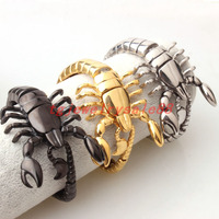 High Quality Silver Gold Black Color Stainless Steel Scorpion Model Bangles Biker Men S Cool Cuff
