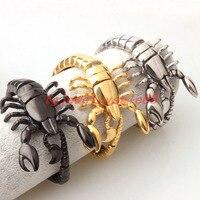 Haute Qualité Argent Or Noir Couleur Acier Inoxydable Scorpion Modèle Bracelets Biker Hommes Frais de Manchette Bracelets Bijoux 8.26