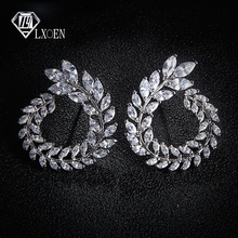LEXON Luxury Olive Branch Cubic Zirconia Stud Earrings For Women White Gold Color Trendy Brand Earrings Brincos Gift E119