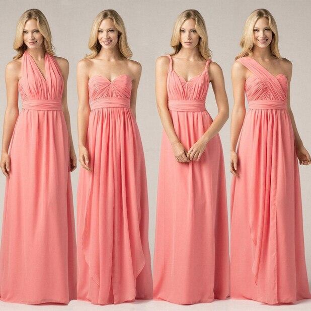 e411b990c7 Wejanedress Sin Mangas Piso-Longitud Gasa cargaderas Multiusos Color Coral  de dama de Honor Vestidos