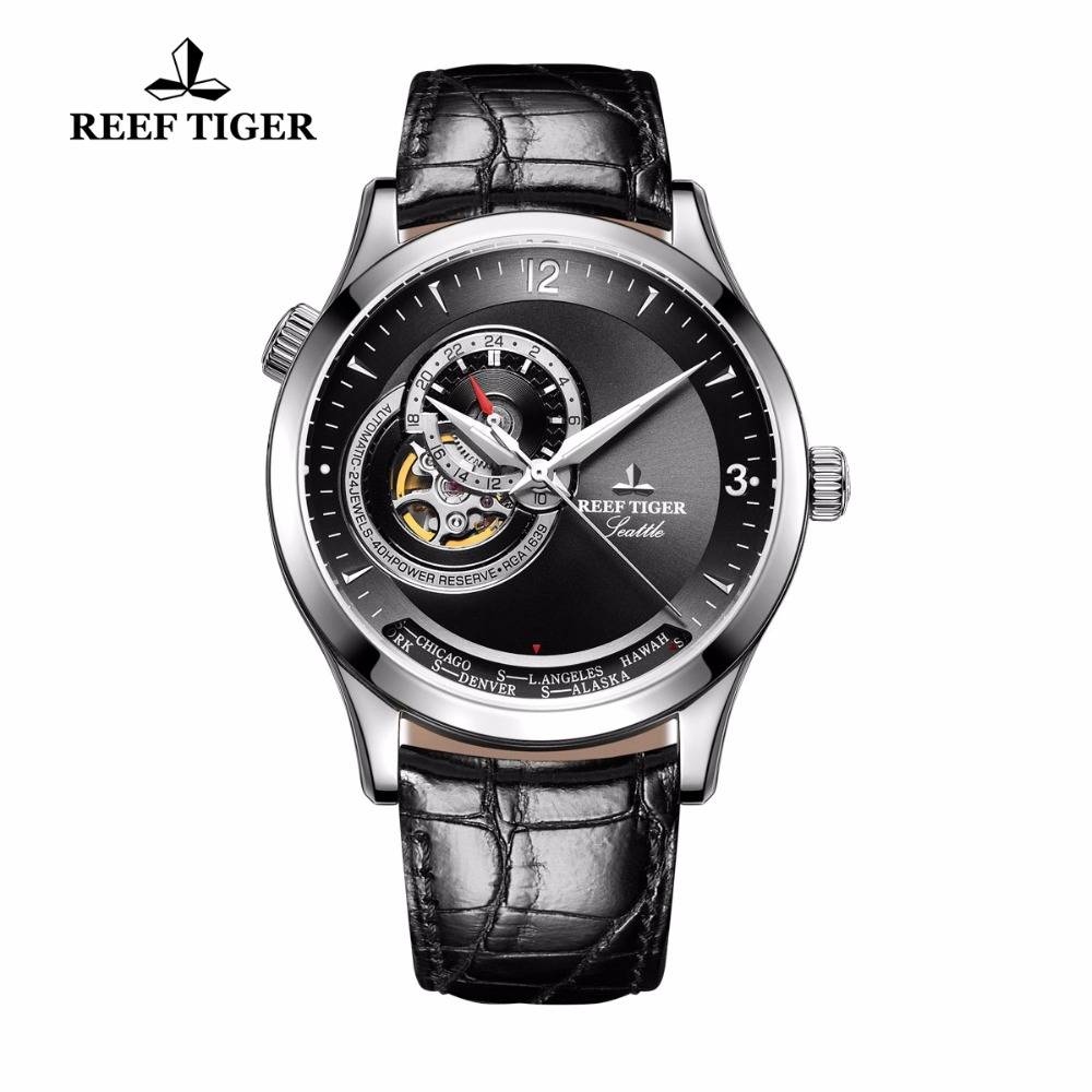 Reef Tiger/RT Mens Casual Watches Calfskin Strap Analog Automatic Watches Stainless Steel Watch RGA1693 кошелек mano 20100 setru black
