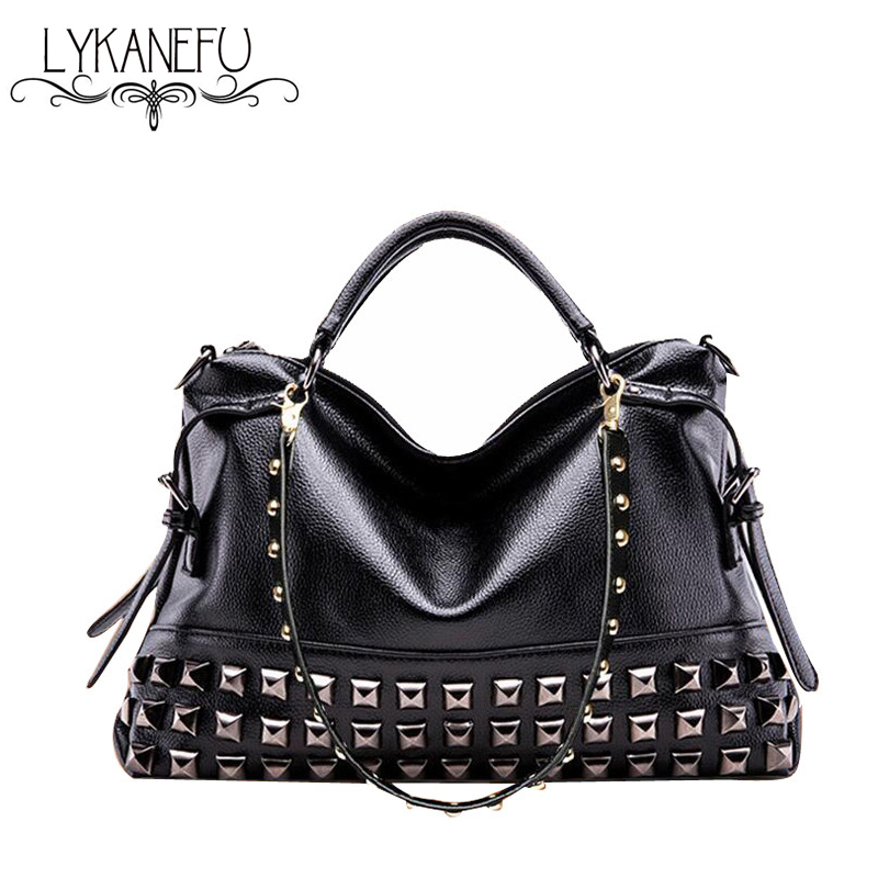 LYKANEFU Fashion Rivet Women Leather Handbags Purse Women ...